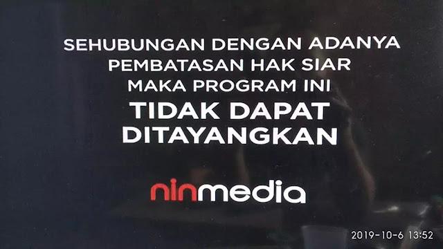 sehubungan dengan adanya pembatasan hak siar maka program ini tidak dapat ditayangkan