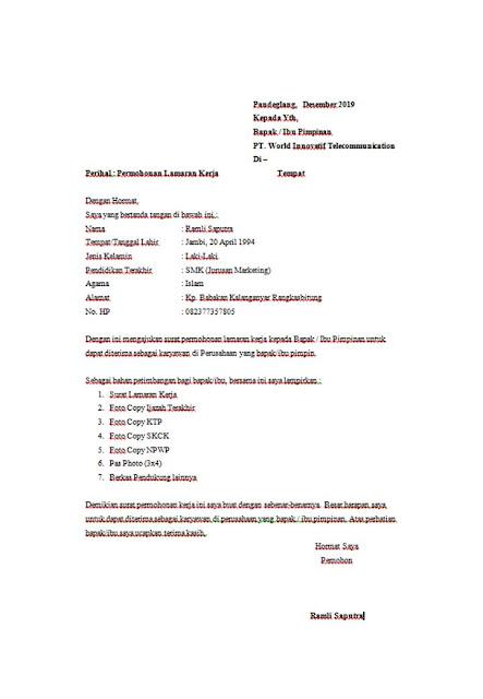 CONTOH SURAT LAMARAN PT. WORLD INNOVATIF TELECOMMUNICATION