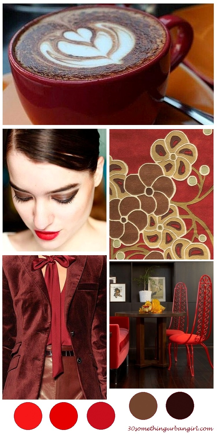 soft and warm, red and brown color palette