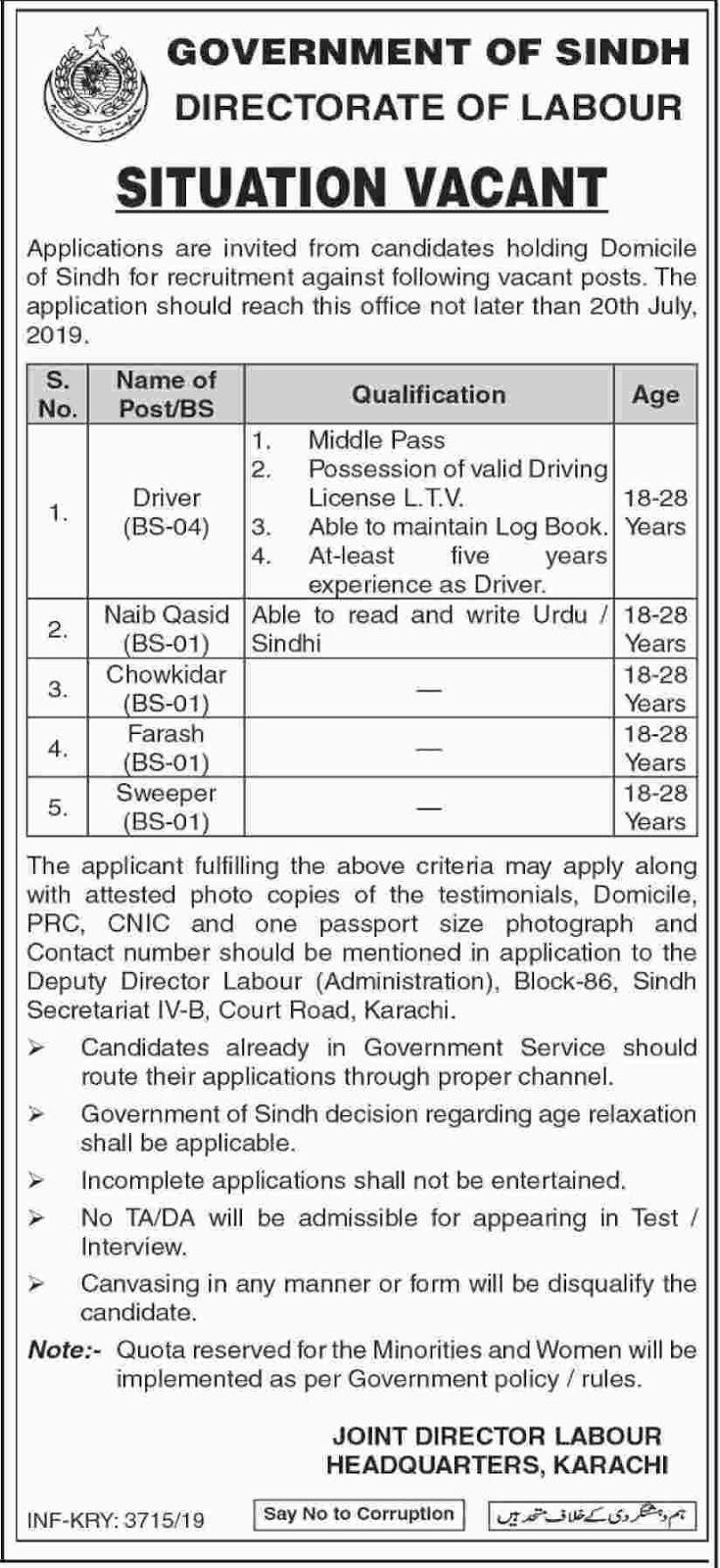Govt Of Sindh Jobs in Directorate of Labor 11 July 2019