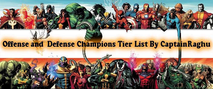 mcoc tier list | mcoc champion tier list | Offense | Defense