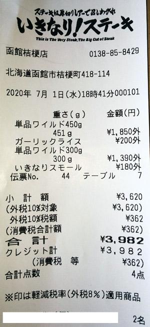 いきなり!ステーキ 函館桔梗店 2020/7/1 飲食のレシート