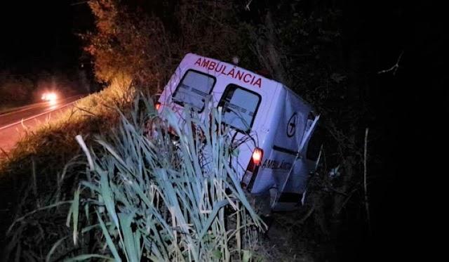 Ambulância de Ourolândia atinge vaca e sai da pista na BR-324