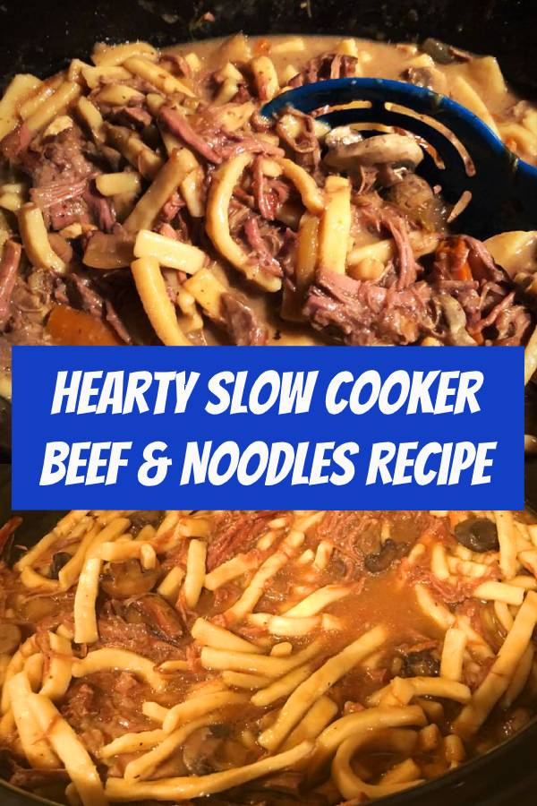 Hearty, and stick-to-your-ribs, this Slow Cooker Beef & Noodles is a cinch to make! #beef #noodles #slowcooker #dinner #comfortfood