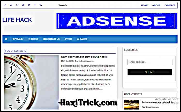 life hack best free adsense friendly blogger template