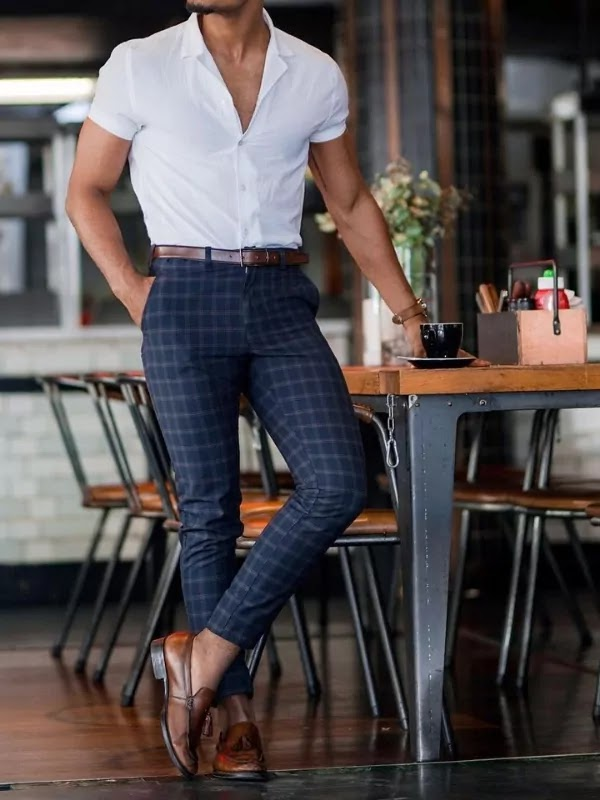 Plain Short-Sleeves Shirts Outfit