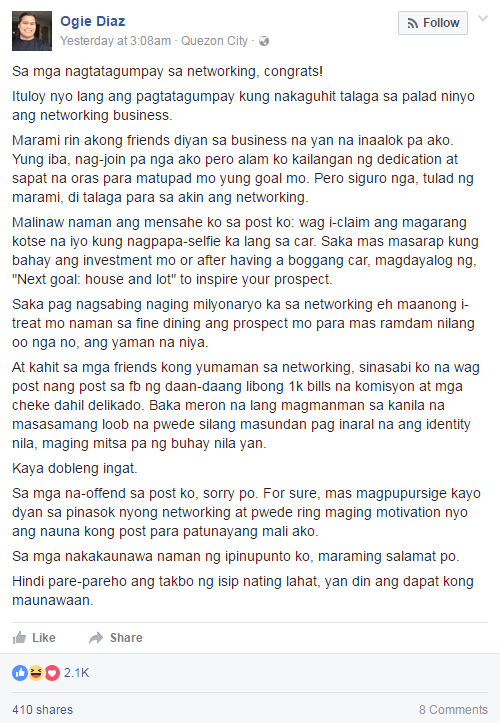 Ogie Diaz apologized to those he has offended in the viral post.