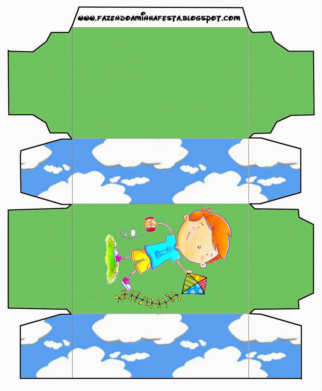 Niño con Cometa: Cajas para Imprimir Gratis.