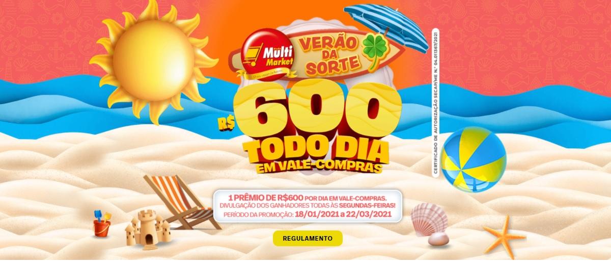 Participar Promoção Rede Multi Market 2021 Verão da Sorte - Cadastrar, Prêmios 600 Reias Todo Dia