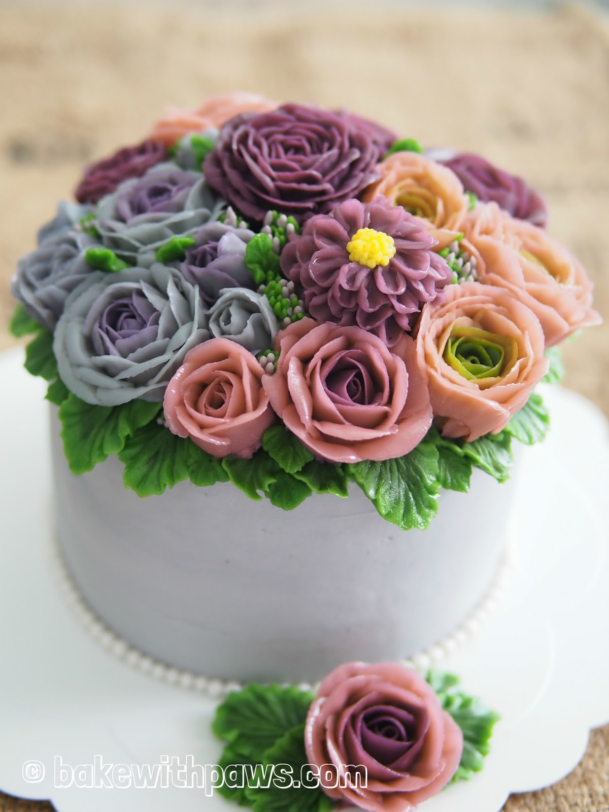 Korean Style Buttercream Flowers Cake 23 Bake With Paws