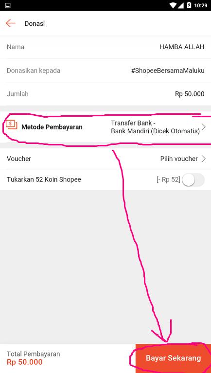 Memilih Metode Pembayaran Donasi di Aplikasi Marketplace Shopee.