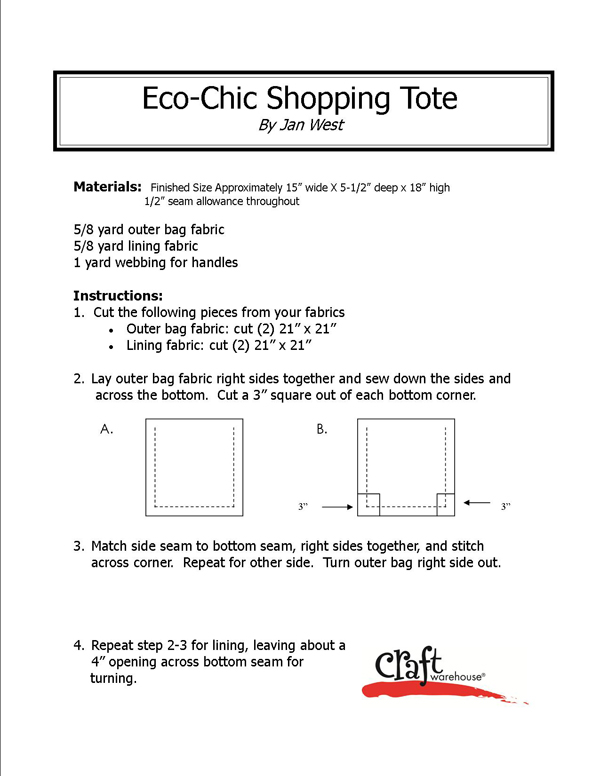 Eco-Chic Shopping Tote @craftsavvy #craftwarehouse #shoppingtote #bag #diy