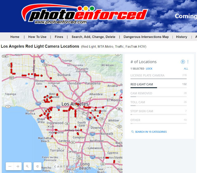 LA MTA Red Light Cameras Map