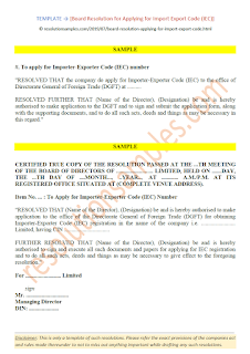 format of board resolution for application of iec code