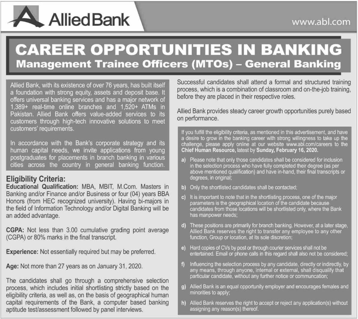 Allied Bank Limited (ABL) Jobs 2020 for Management Trainee Officers MTOs
