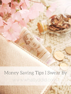 a ten pound note inside a rose gold purse. In the background there is a glass piggy pank with pink flowers and pennies around it. the picture reads 'money saving tips I swear by what lyd did .com'