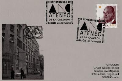 tarjeta, matasellos, ateneo, Calzada, Gijón