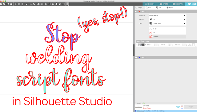 silhouette 101, silhouette america blog, weld text, weld fonts, script fonts