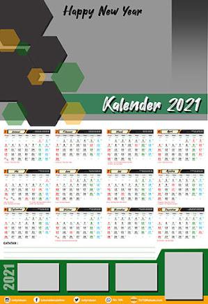 Desain Kalender Dinding 2021 12 Bulan Free PSD
