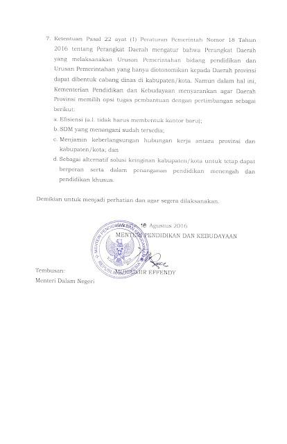 SE Mendikbud Tentang Pedoman Organisasi Perangkat Daerah Bidang Pendidikan dan Kebudayaan