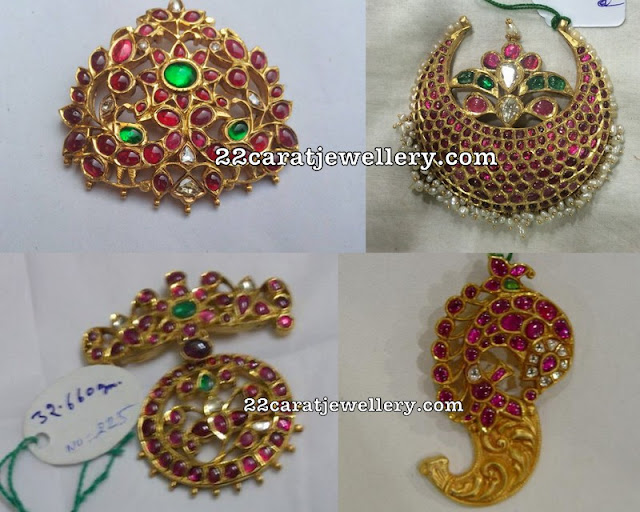 Simple Kundan Ruby Lockets
