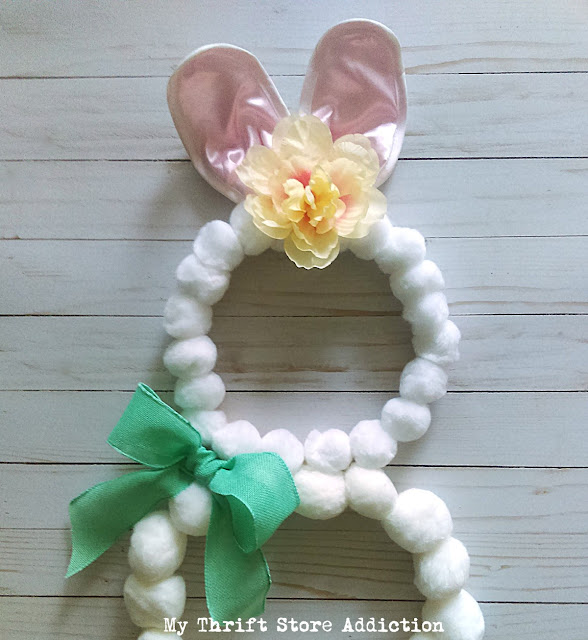 whimsical easter bunny pom pom wreath