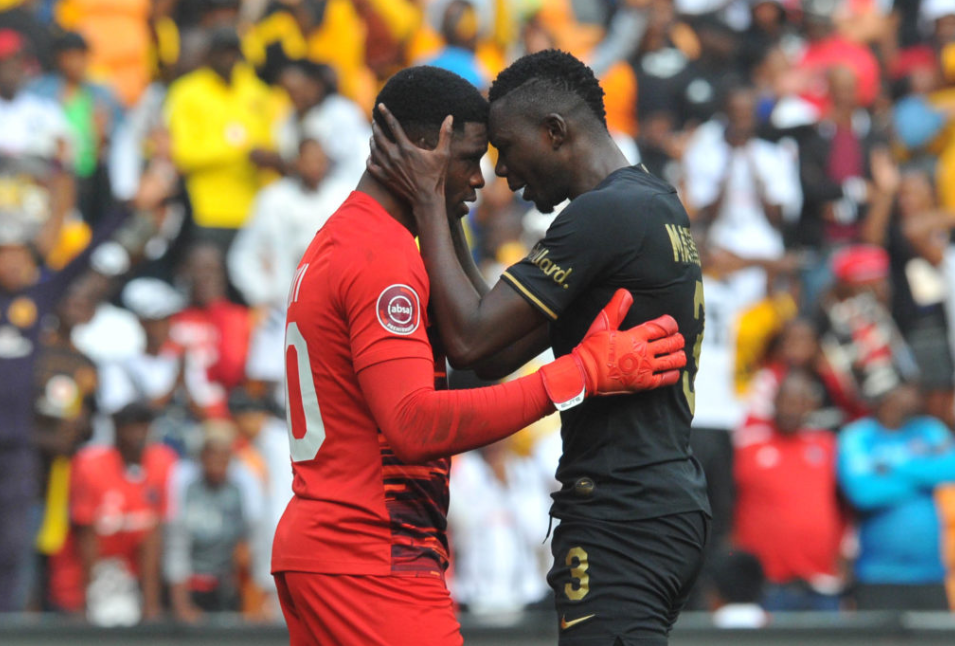 Daniel Akpeyi and Eric Mathoho of Kaizer Chiefs