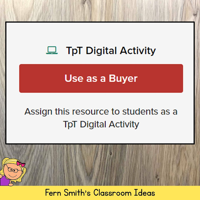 One really cool feature that TeachersPayTeachers now offers for buyers is their new, TpT Digital Activity access. If you purchase any of my resources that are PDFs {almost every single resource I make is saved in the PDF format for you} you will now be able to get a sign in to TpT's Digital Activity area and so will your students. Visit the TpT website for more details and please feel free to email if you have any questions. Just look for this button near the top right hand of the screen on any TpT purchase.