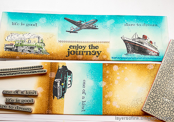 Layers of ink - Vintage Vehicles Box Tutorial by Anna-Karin Evaldsson. Stamp sentiments and textures.