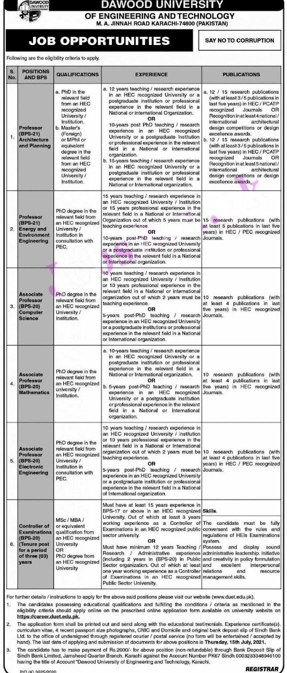 Latest Jobs in Dawood University Karachi DUET 2021- Apply Online