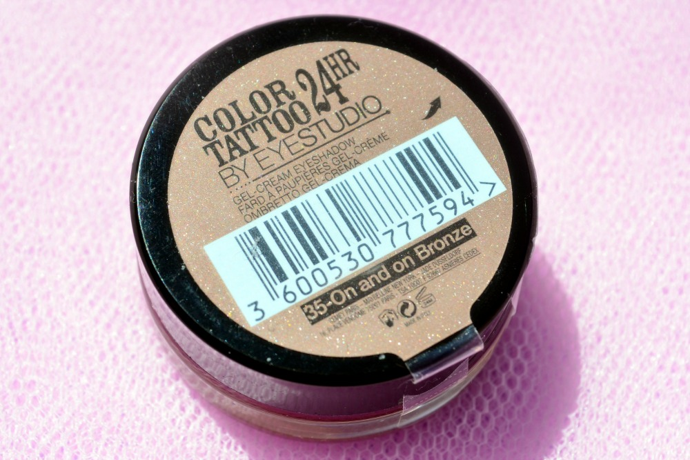 Image of the shade name and ingredients of the On and On Bronze color tattoo