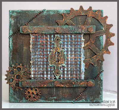 Rusty Wall Panel with Deco Art Media Fluid Acrylics and Seth Apter - Emerald Creek Baked Textures - by Nikki Acton