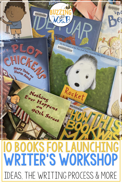 Need ideas for launching writer's workshop in upper elementary? These ten mentor text suggestions are perfect for getting kids excited about writing! Each book includes the reason to read it: to help kids brainstorm ideas, to introduce the wriitng process, to get tips for narrative writing and more! Grade level suggestions help you choose the perfect book for your students!