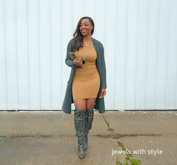 long cardigan outfit, long cardigan spring outfit, long cardigan fall outfit, gray long cardigan, gray over the knee boot outfits, tan dress outfit, jewels with style, how to wear a cardigan, columbus ohio wardrobe stylist, black style blogger, in style magazine, black fashion blogger, monica warren, ohio wardrobe stylist, animal print boots