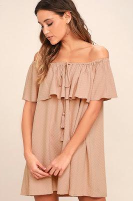 Melodic Blush Off The Shoulder Dress