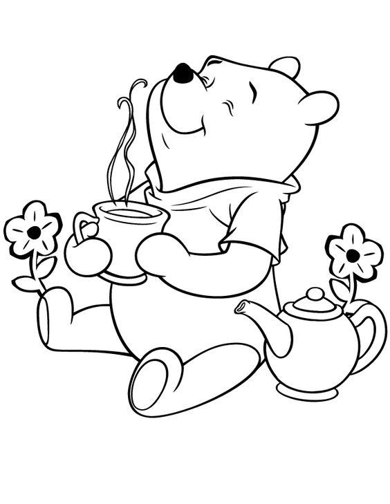 Tranh cho bé tô màu gấu Pooh 21