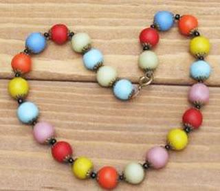 Multi coloured antique bead necklace