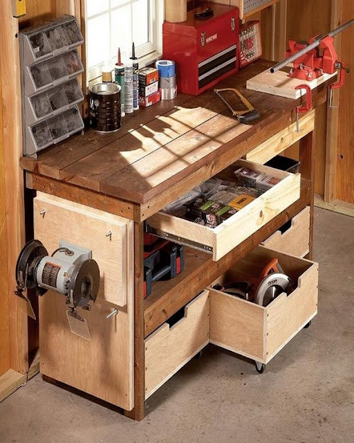 garage shelf and workbench ideas