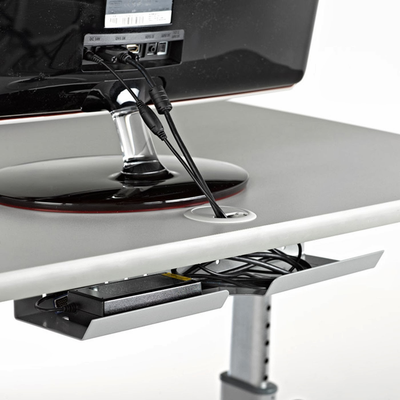 LifeSpan TR1200-DT5 Treadmill Desk, rear cable slot & tray to keep wires tidy