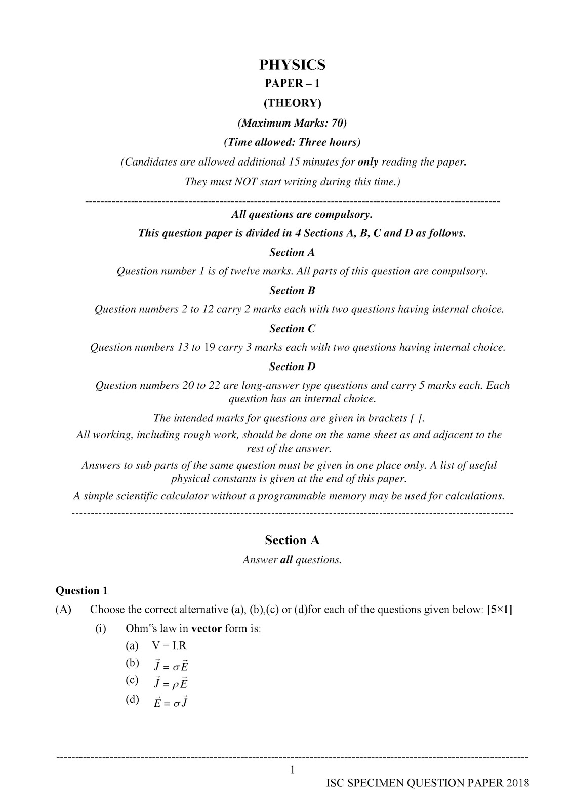 isc 2018 class 12th Physics (Theory) Sample paper