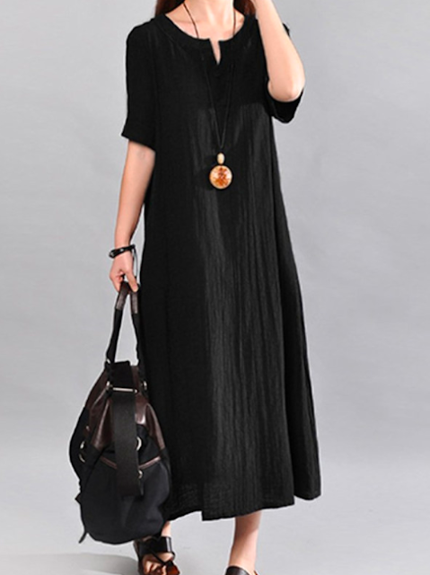 Black plain maxi dress