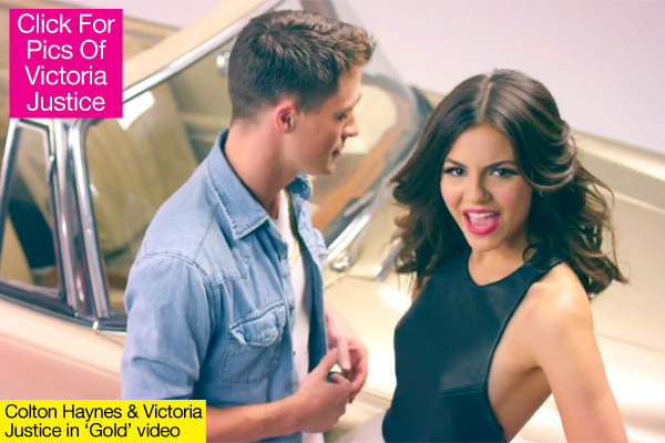 ashbuzz victoria justice debuts gold music video with colton haynes. Black Bedroom Furniture Sets. Home Design Ideas