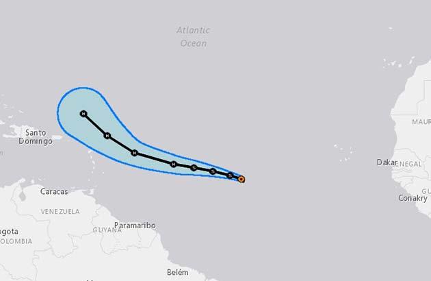 Se espera que la tormenta tropical  José se haga huracán en el Atlántico el próximo jueves
