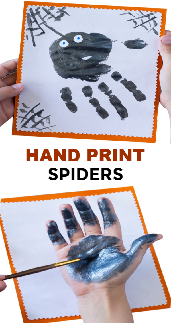 Make hand-print spiders for Halloween. This easy craft is perfect for preschoolers and toddlers. #spidercraft #spidercraftspreschool #spidercraftsfortoddlers #spidercraftsforkids #spiderart #spideractivitiesforpreschool #handprintart #handprintcrafts #handprintanimals #handprintspider #halloweencrafts #growingajeweledrose #activitiesforkids