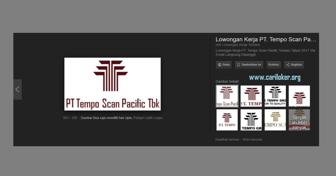 Informasi Loker PT TEMPO SCAN PACIFIC Untuk Operator Produksi