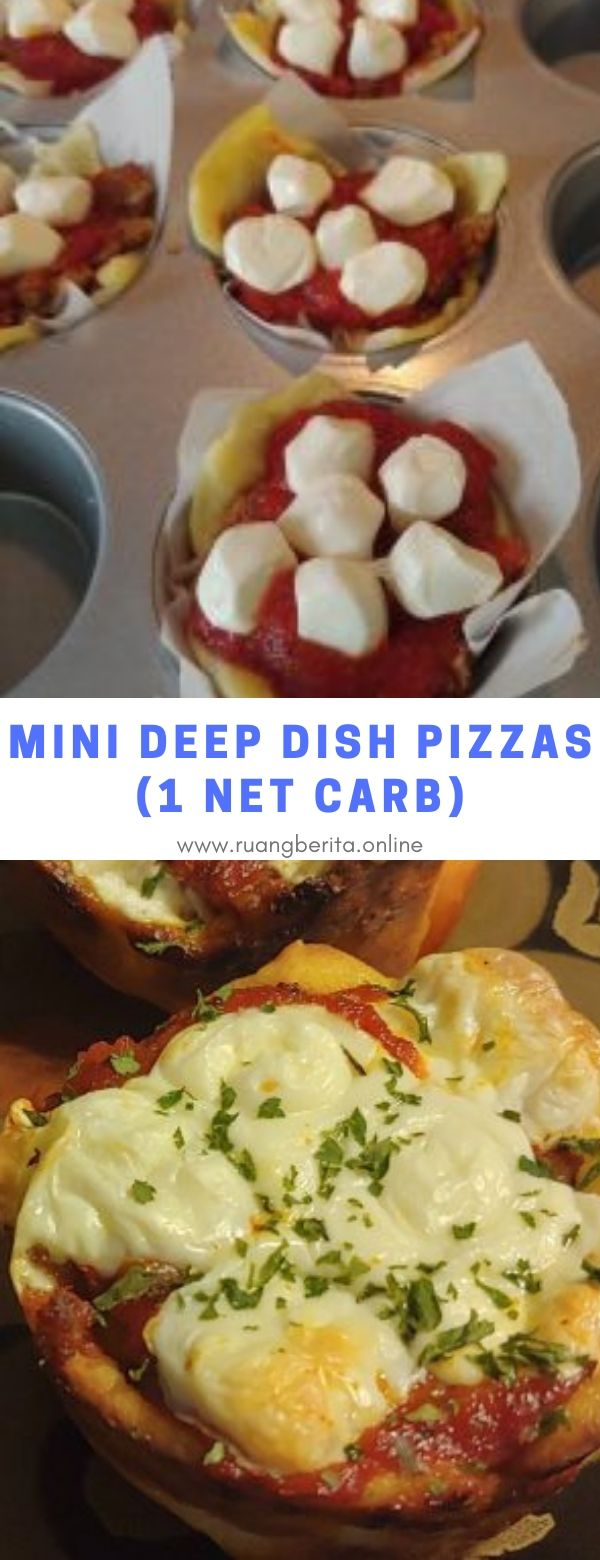 Mini Deep Dish Pizzas (1 Net Carb) #appetizer #maindish #mini #deep #dish #pizza #1netcarb