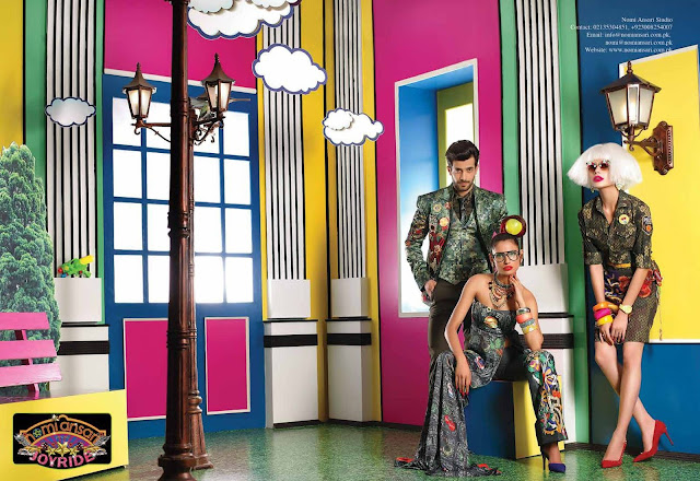 aamna ilyas, sadaf kanwal and shahzad noor in nomi ansari's designs that are colorful and pop art fashion and style