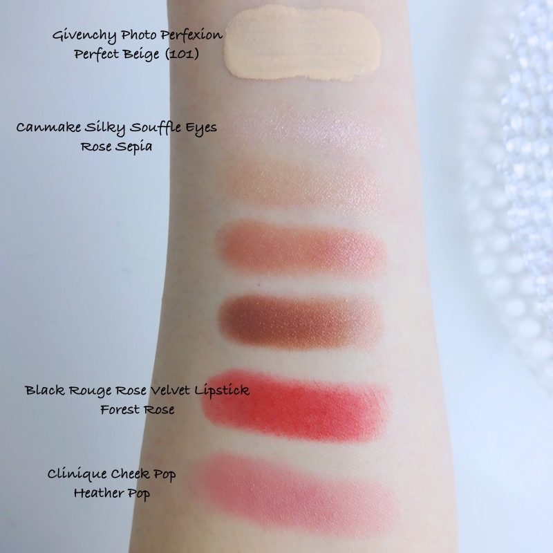 Canmake Rose Sepia swatches