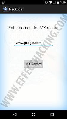 Hackode MX Record grabbing tool snapshot