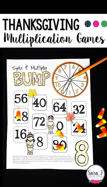 Thanksgiving multiplication games for learning fun!